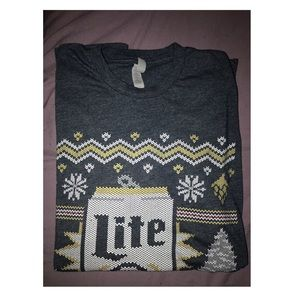 Ugly Christmas Miller Lite Beer T-Shirt